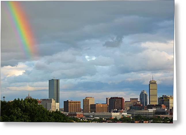 Boston Ma Greeting Cards - Rainbow over Boston MA Greeting Card by Toby McGuire