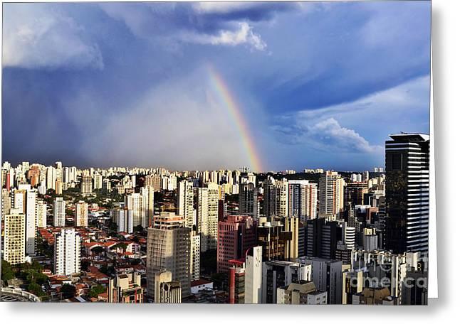 Helipad Greeting Cards - Rainbow over City Skyline - Sao Paulo Greeting Card by Carlos Alkmin