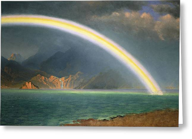 Dream Like Greeting Cards - Rainbow Over Jenny Lake Wyoming Greeting Card by Albert Bierstadt