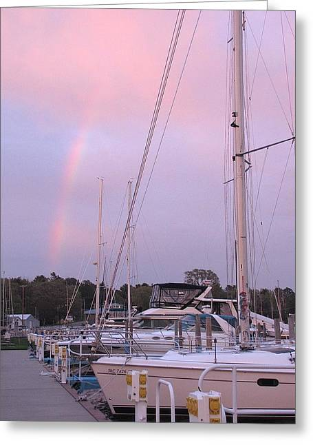 Masts Greeting Cards - The Pot of Gold Is Pentwater Greeting Card by Jane Greiner