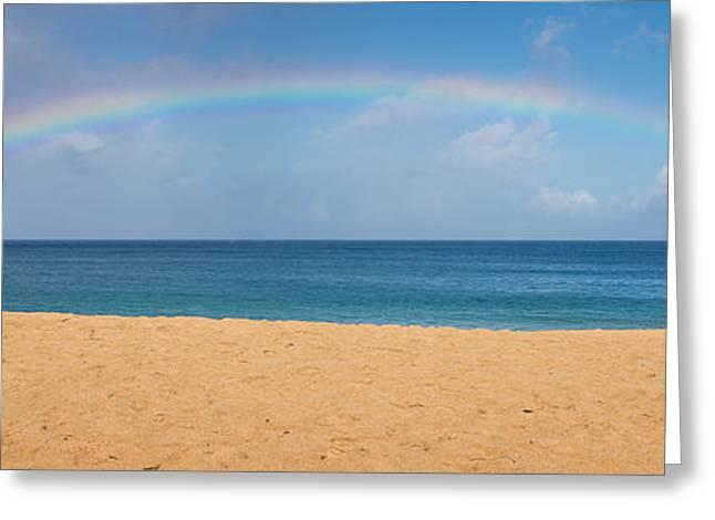 Rainbow Over The Pacific Panorama - Waimea Beach Oahu Hawaii Greeting Card by Brian Harig
