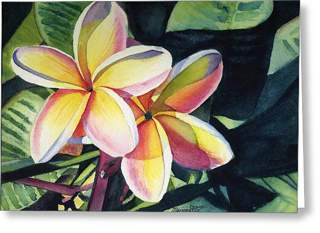 Flowers Paintings Greeting Cards - Rainbow Plumeria Greeting Card by Marionette Taboniar
