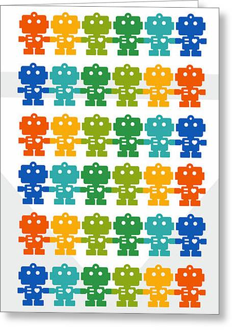 Rainbow Robots Greeting Card by Julia Jasiczak