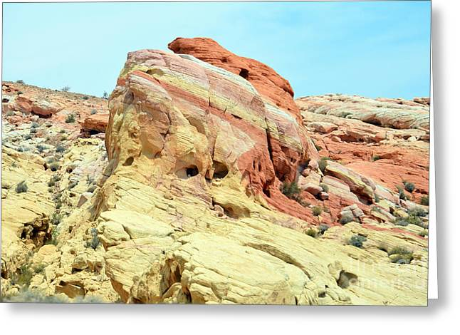 Boulders Tapestries - Textiles Greeting Cards - Rainbow Rock Greeting Card by Edna Weber
