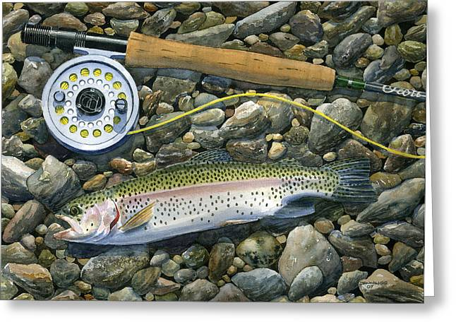 Trout Fishing Greeting Cards - Rainbow Rocks Greeting Card by Mark Jennings