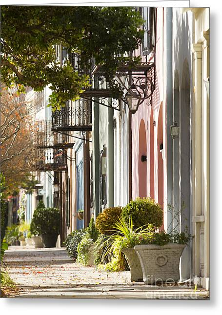 Carolina Photographs Greeting Cards - Rainbow Row Charleston SC 2 Greeting Card by Dustin K Ryan