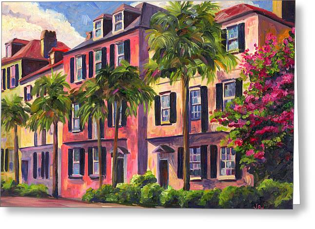 Palms Greeting Cards - Rainbow Row Charleston Sc Greeting Card by Jeff Pittman