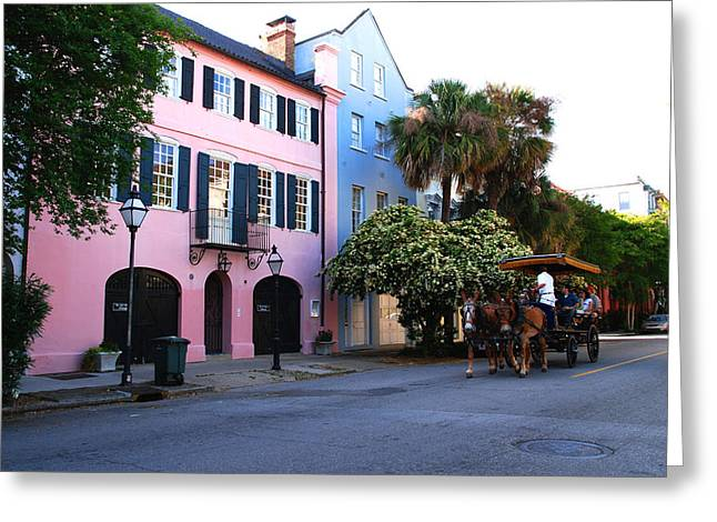 Architectural Greeting Cards - Rainbow Row Charleston Greeting Card by Susanne Van Hulst
