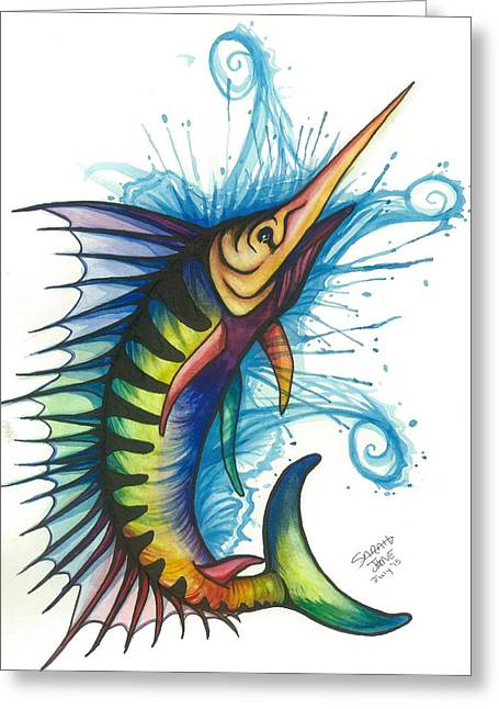 Swordfish Paintings Greeting Cards - Rainbow Sailfish Greeting Card by Sarah Jane