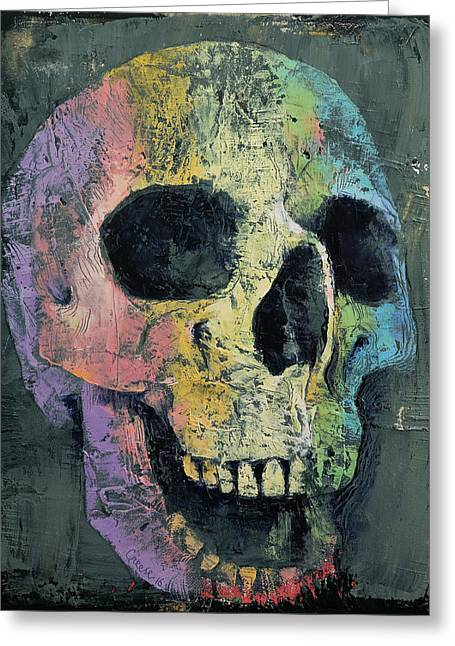 Happy Skull Greeting Card by Michael Creese
