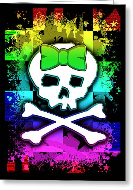 Crossbones Greeting Cards - Rainbow Skull Greeting Card by Roseanne Jones