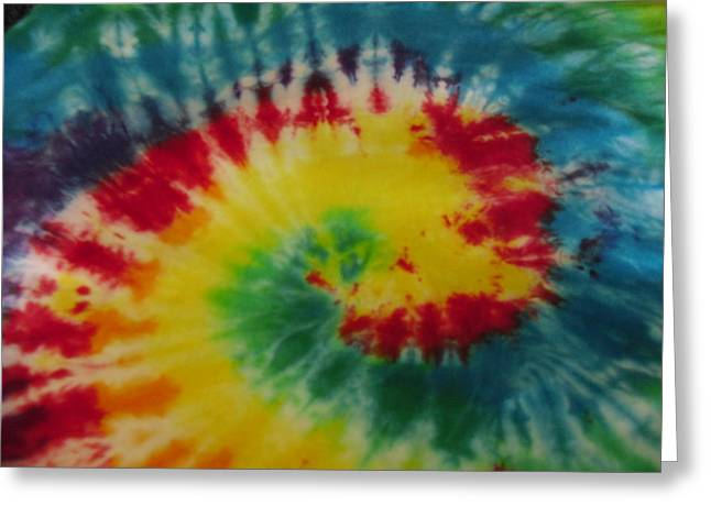 Spiral Tapestries - Textiles Greeting Cards - Rainbow Spiral Tie Dye  Greeting Card by Pam Klein