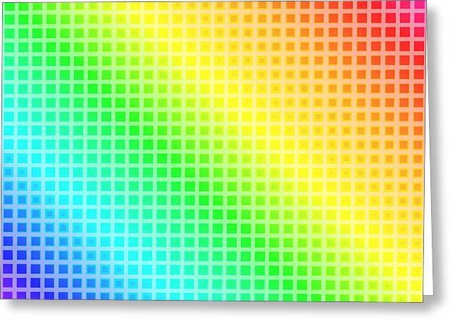 Cushion Greeting Cards - Rainbow Squares Greeting Card by Lena Kouneva