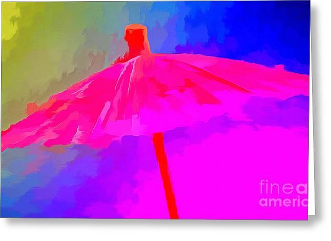 Rainbow Umbrella Greeting Cards - Rainbow Storm Greeting Card by Krissy Katsimbras