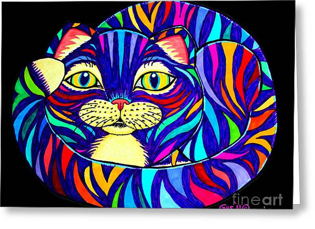 Cat Drawings Greeting Cards - Rainbow Striped Cat 2 Greeting Card by Nick Gustafson