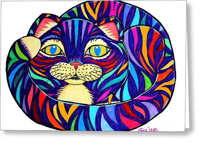Cat Drawings Greeting Cards - Rainbow Striped Cat Greeting Card by Nick Gustafson