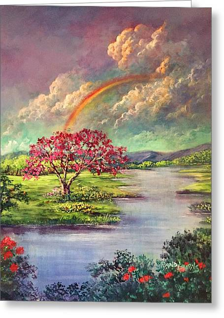 Rainbow-the Promise Of God/arco De Iris-la Promesa De Dios Greeting Card by Randol Burns