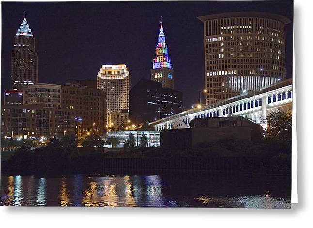 Historical Buildings Greeting Cards - Rainbow Tower in Cleveland Greeting Card by Frozen in Time Fine Art Photography