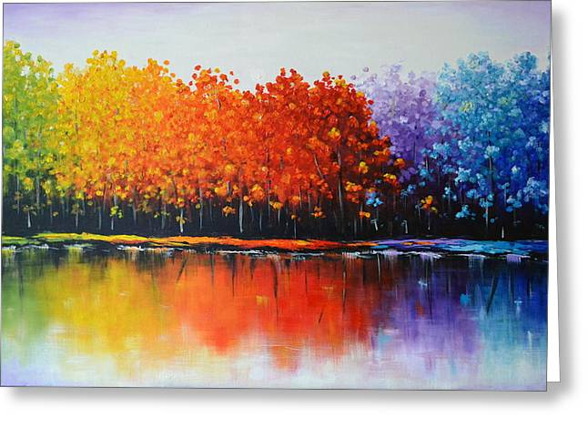 Acrylic Sculptures Greeting Cards - Rainbow trees  Greeting Card by Zarema Mamedova