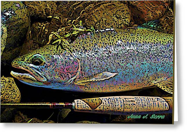 Rainbow Trout Greeting Cards - Rainbow trout 3 Greeting Card by Juan Jose Serra