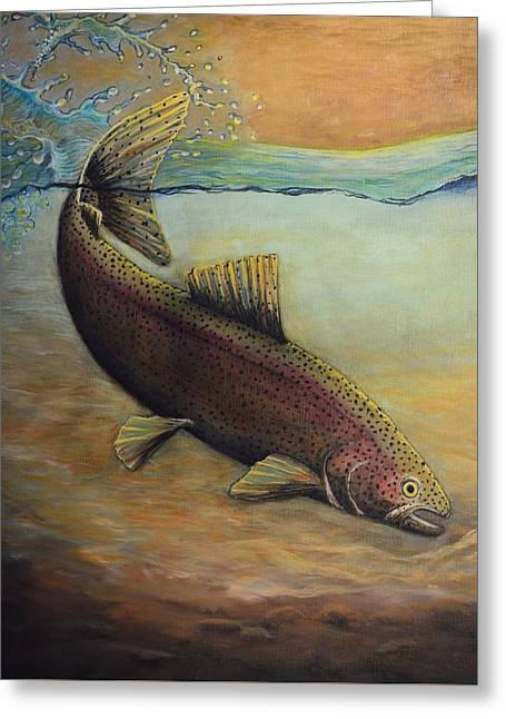 Rainbow Trout Greeting Cards - Rainbow Trout Greeting Card by Kimberly Benedict