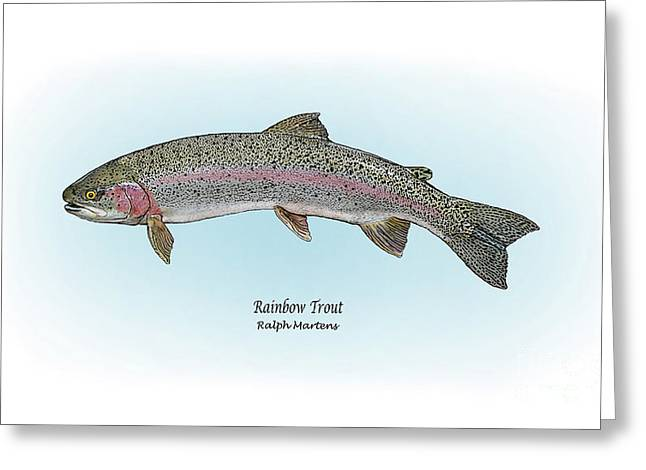 Angling Drawings Greeting Cards - Rainbow Trout Greeting Card by Ralph Martens