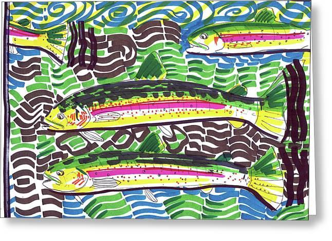 Rainbow Trout Drawings Greeting Cards - Rainbow Trout School Greeting Card by Robert Wolverton Jr