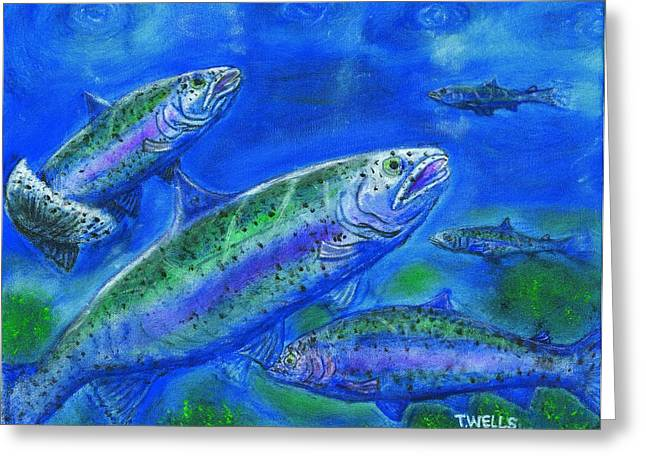 Rainbow Trout Greeting Cards - Rainbow Trout Swimming Greeting Card by Tanna Lee M Wells