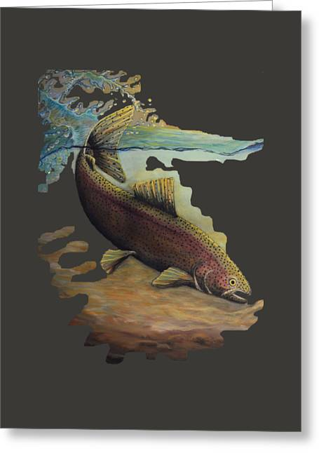 Rainbow Trout Greeting Cards - Rainbow Trout trans Greeting Card by Kimberly Benedict
