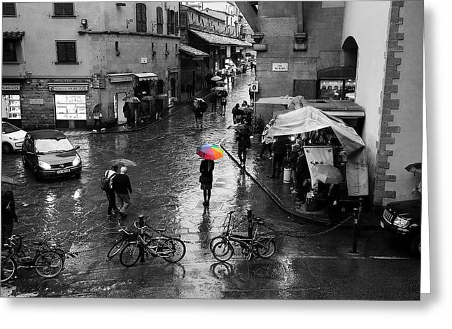 Rainbow Umbrella Greeting Card by Andrew Fare