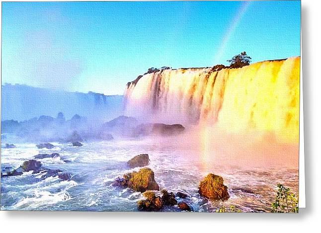 Abstract Digital Pastels Greeting Cards - Rainbow Waterfall H b Greeting Card by Gert J Rheeders
