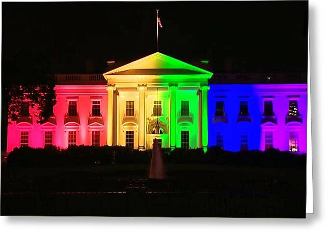 Rainbow White House Greeting Card by Chris Montcalmo
