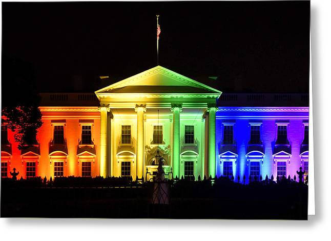 Gay Greeting Cards - Rainbow White House  - Washington DC Greeting Card by Brendan Reals