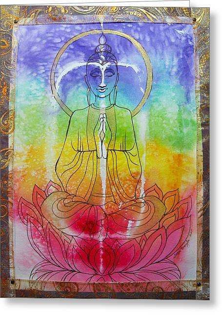 Chakra Rainbow Greeting Cards - RainbowBuddha Greeting Card by Joan Doyle