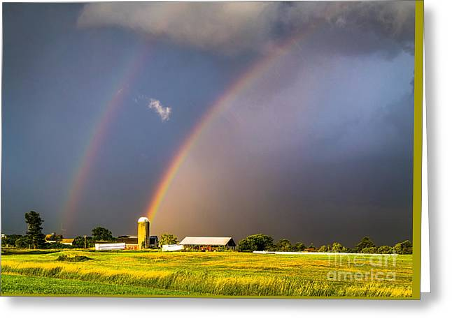 Maine Farms Greeting Cards - Rainbows and Silos Greeting Card by Benjamin Williamson