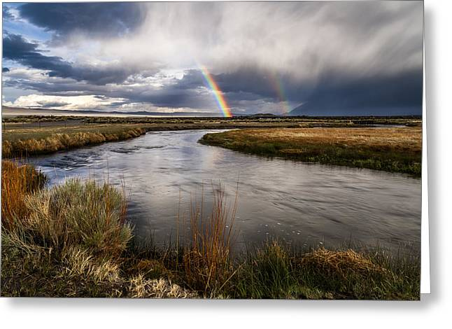Eastern Sierra Greeting Cards - Rainbows at the Upper Owens Greeting Card by Cat Connor