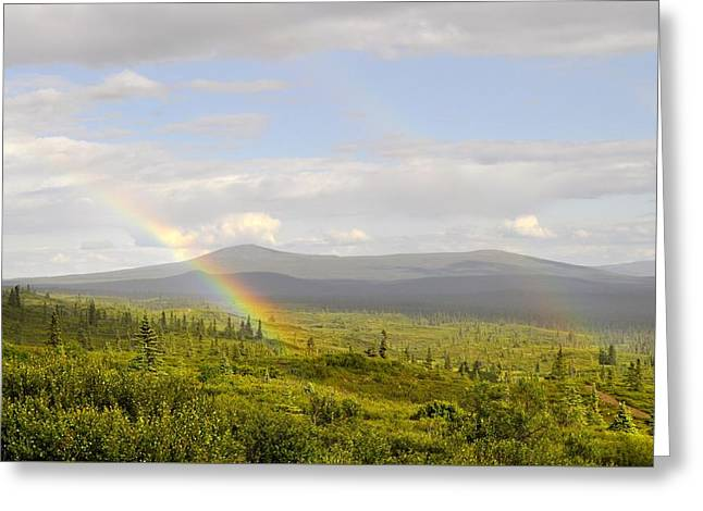 Mountain Road Greeting Cards - Rainbows Ends Greeting Card by Cathy Mahnke