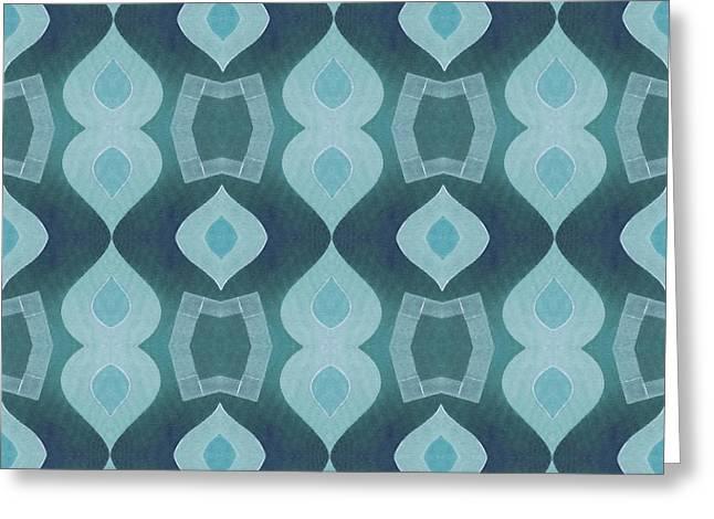 Geometric Artwork Greeting Cards - Raindance - A  T J O D 35 Tile 3x3 Greeting Card by Helena Tiainen