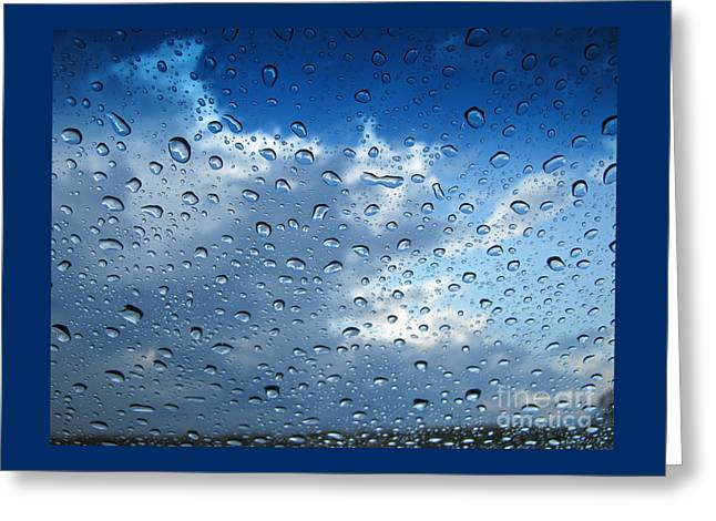 Abstract Rain Greeting Cards - Raindrops in Blue Greeting Card by Ann Horn