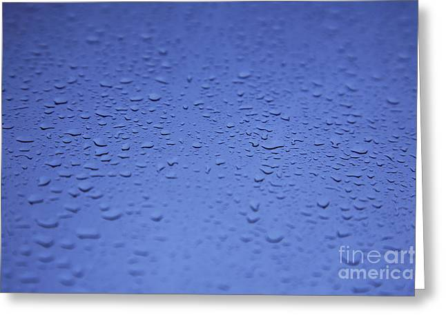 Moist Greeting Cards - Raindrops on Blue Greeting Card by Brandon Tabiolo - Printscapes