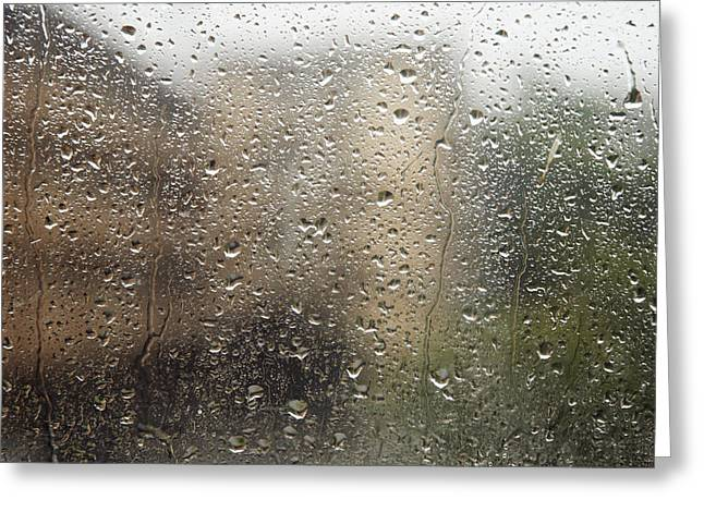 Raindrops On Window Greeting Card by Brandon Tabiolo - Printscapes