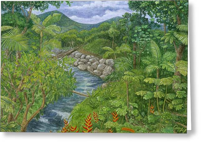 Puerto Rico Mixed Media Greeting Cards - Rainforest at Full Bloom Greeting Card by Robert Casilla