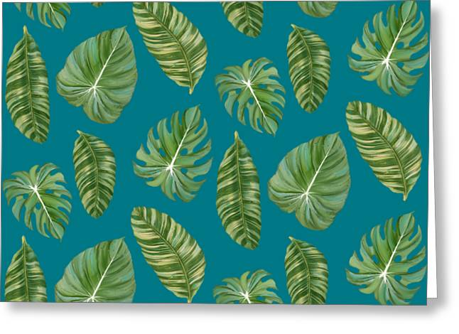 Rainforest Resort - Tropical Leaves Elephant's Ear Philodendron Banana Leaf Greeting Card by Audrey Jeanne Roberts