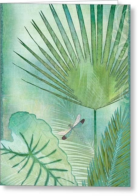 Green Foliage Mixed Media Greeting Cards - Rainforest Tropical - Elephant Ear and Fan Palm Leaves w Botanical Dragonfly Greeting Card by Audrey Jeanne Roberts