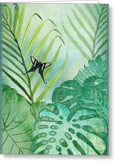 Philodendron Greeting Cards - Rainforest Tropical - Philodendron Elephant Ear and Palm Leaves w Botanical Butterfly Greeting Card by Audrey Jeanne Roberts