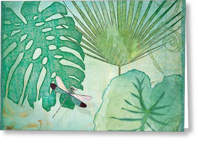 Green Foliage Mixed Media Greeting Cards - Rainforest Tropical - Philodendron Elephant Ear and Palm Leaves w Botanical Dragonfly 2 Greeting Card by Audrey Jeanne Roberts