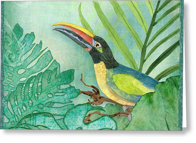 Square Format Greeting Cards - Rainforest Tropical - Jungle Toucan w Philodendron Elephant Ear and Palm Leaves 2 Greeting Card by Audrey Jeanne Roberts