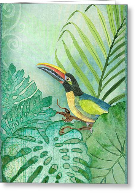 Philodendron Greeting Cards - Rainforest Tropical - Tropical Toucan w Philodendron Elephant Ear and Palm Leaves Greeting Card by Audrey Jeanne Roberts