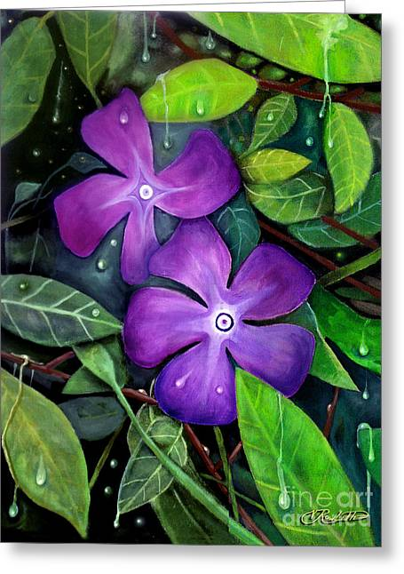 Blackart Greeting Cards - Rainforest Greeting Card by Vernon Rowlette