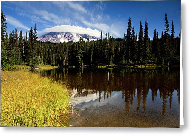 Mt Greeting Cards - Rainier Capped Greeting Card by Mike  Dawson
